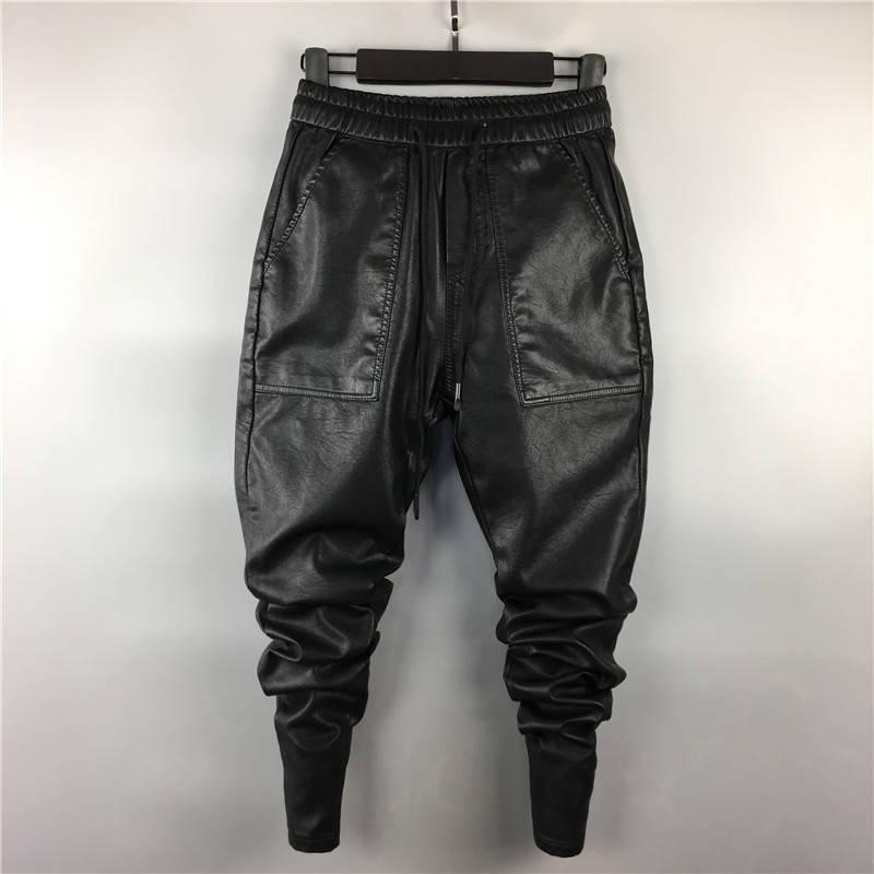 Мужская зима теплая искусственная кожа шаровары хип-хоп эластичный пояс шнурок PU бег трусцой брюки для мужчин