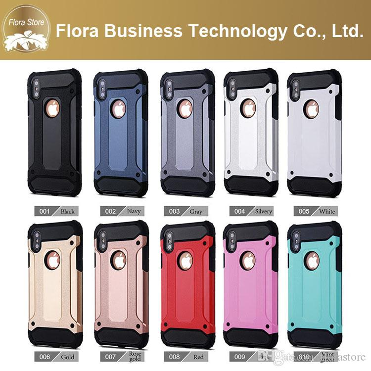 Free DHL Tough Armor Combo Neo Hybrid PC Hard Shell Shockproof Heavy Duty Slim Mobile Phone Cases for iPhone 7 8 X Package