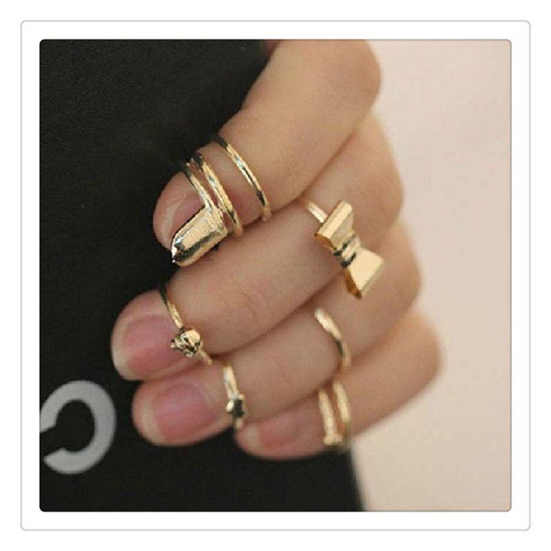 Finger Rings 7Pcs Set Jewelry Vogue Gold Skull Bowknot Heart Design Simple Nail Band Mid Finger Rings Set Nail Art Ring