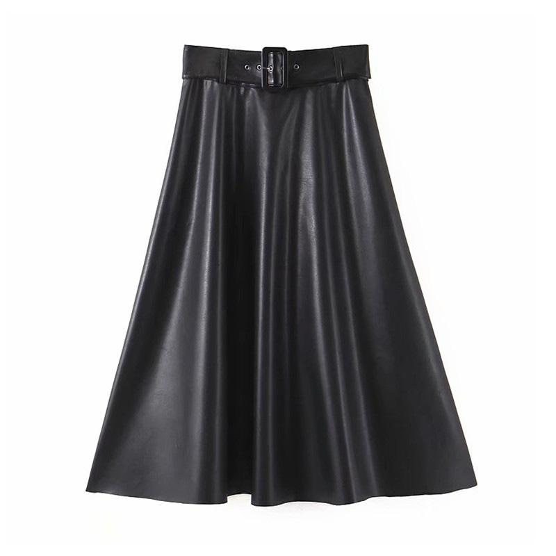 Mode féminine PU cuir noir jupe midi arc côté fermeture éclair ceinture nouée jupes mode casual féminins de base de la ligne A mujer