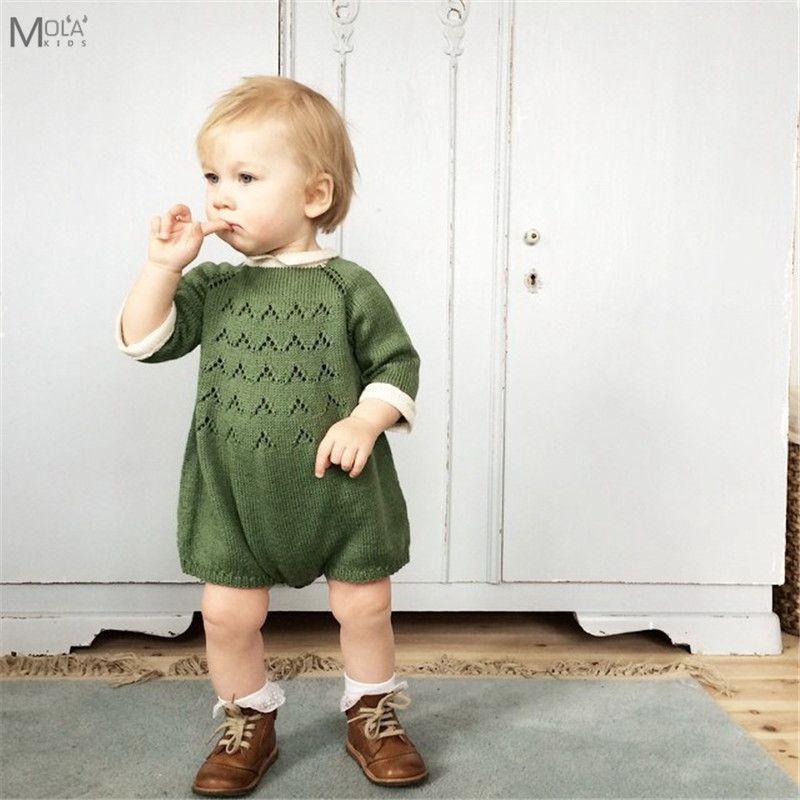 Kikikids 새로 태어난 된 아기 소녀 Rompers 니트 소년 옷 Kawaii 겨울 Romper 마 키즈 점프 슈즈 Bebe 브랜드 Bobo 키즈 스웨터 J190524