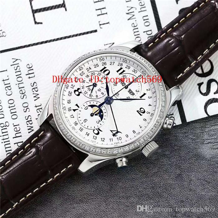 New Diamond Master Collection para hombre reloj suizo 7751 cronógrafo automático 28800 vph calendario anual Fase de la luna de zafiro acero 316L CNC