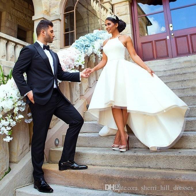 겸손한 간단한 웨딩 드레스 하이 로우 홀터 넥 새틴 - 라인 민소매 웨딩 파티 정장 해변 신부 가운 들어 들러리 DH4004