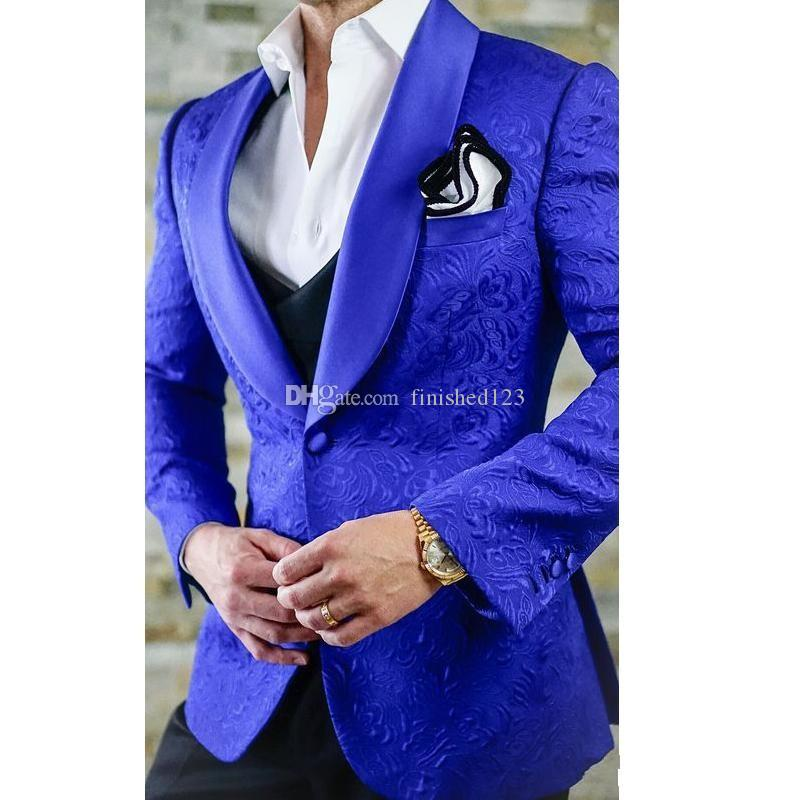 One Button Royal Blue Paisley Formal Wedding Men Suits Shawl Lapel New Three Pieces Business Groom Tuxedos (Jacket+Pants+Vest+Tie) W935