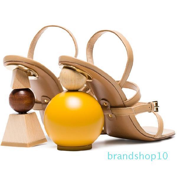 Vendita-calda estate sandali in pelle di moda slingback sottile fibbia della cintura tipo a sfera a forma di blocco con i sandali romani