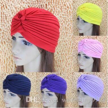 Лучшего качество Эластичного Тюрбан Head Wrap диапазон сон Hat Химиотерапия Бандан Хиджаб плиссе Indian Cap
