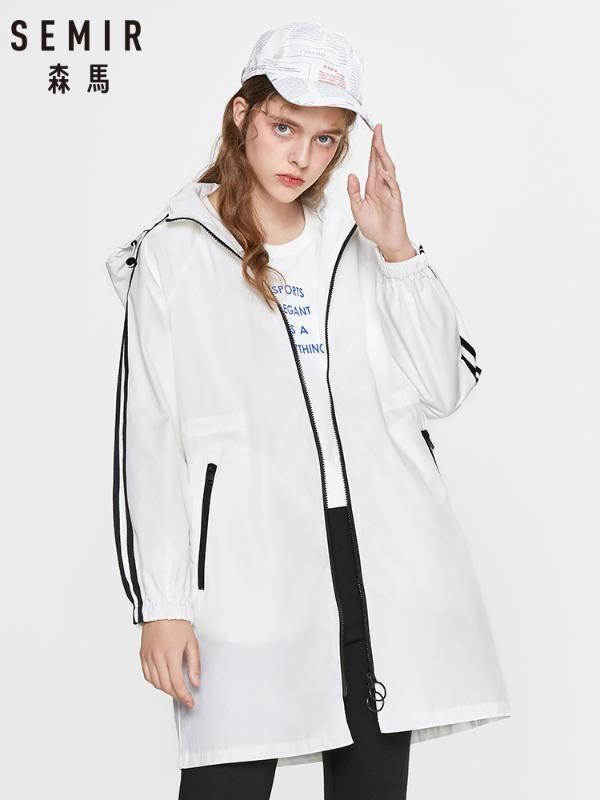 SEMIR suelta Las mujeres de la capa de foso de primavera 2020 de la chaqueta deportiva nueva marea mujeres con capucha mitad de la longitud del foso ocasional femenina