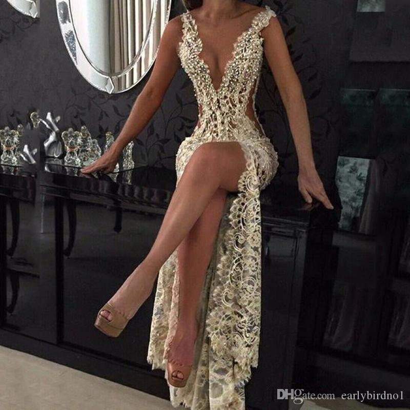2020 Lace Deep V Neck Evening Gowns Sparkly Beaded Sheer Backless Mermaid Prom Dresses See Through Sweep Train Party Vestidos Custom Made