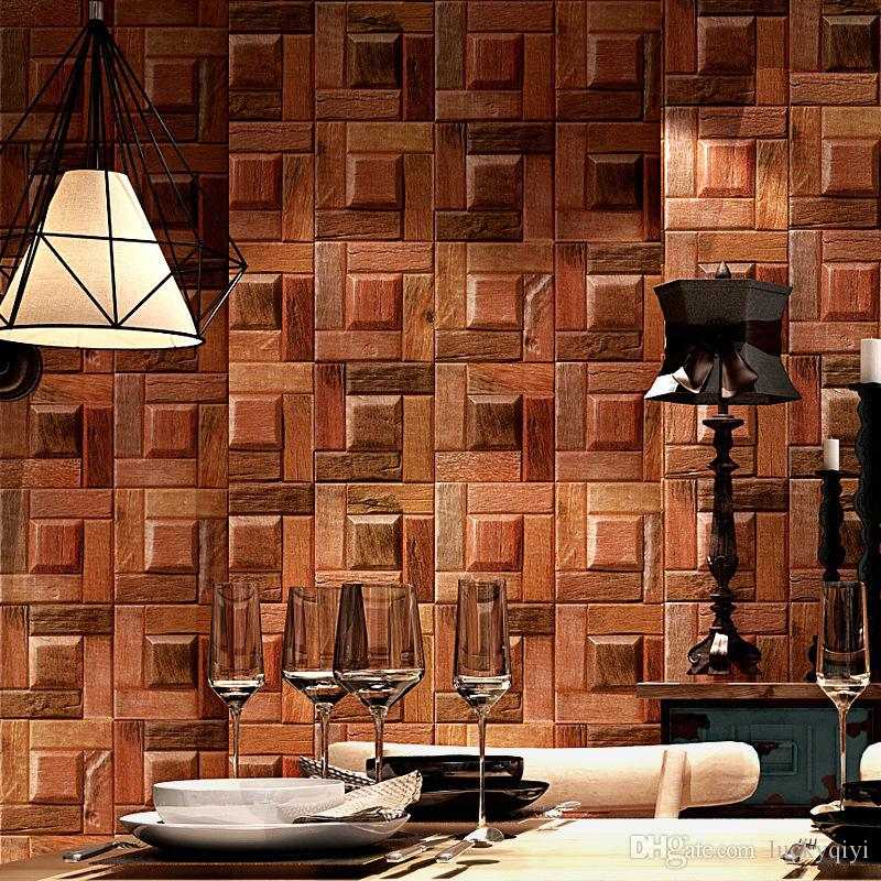 Personality vintage wallpaper special effect wood texture chock-a-block 3d stereo classical wallpaper for coffee restaurant balcony decor