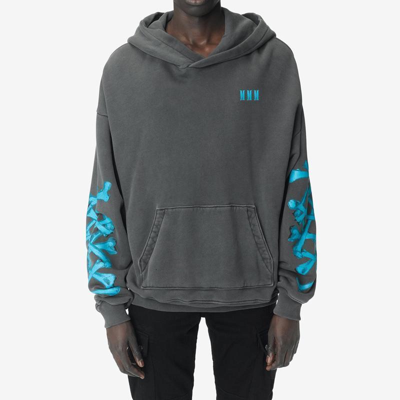 2020AW AM1R1 Sideline Skull Printed Hoodie Pullover Sweatshirt Men Washed Hoodies Highstreet Long Sleeve HFLSWY346