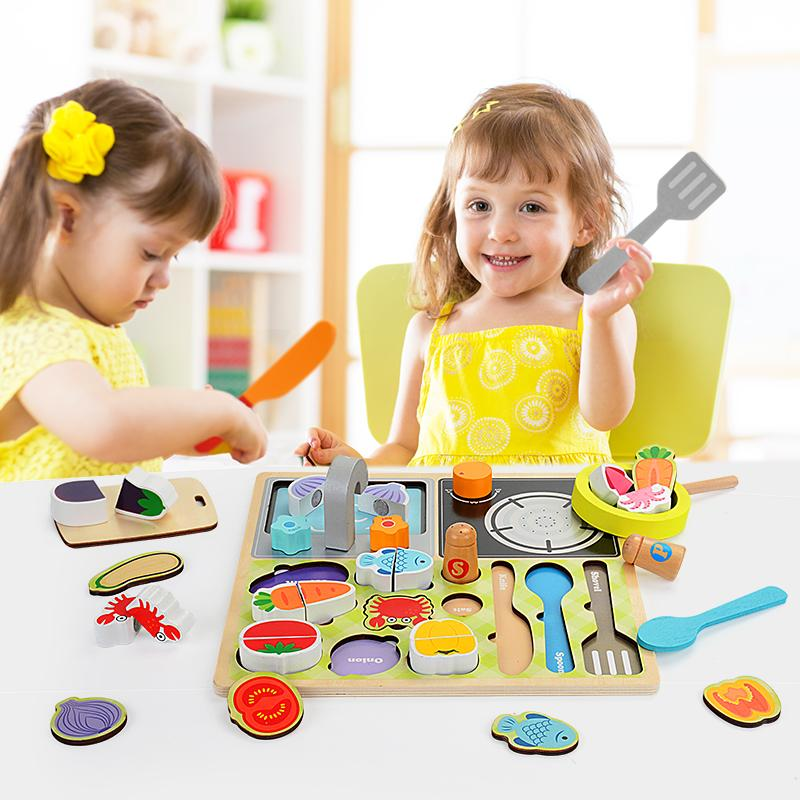 2020 juegos de simulación de juguetes de madera para cortar los alimentos de frutas hortalizas, alimentos Pretend Juegos de rol niños para Niños juguetes para niños