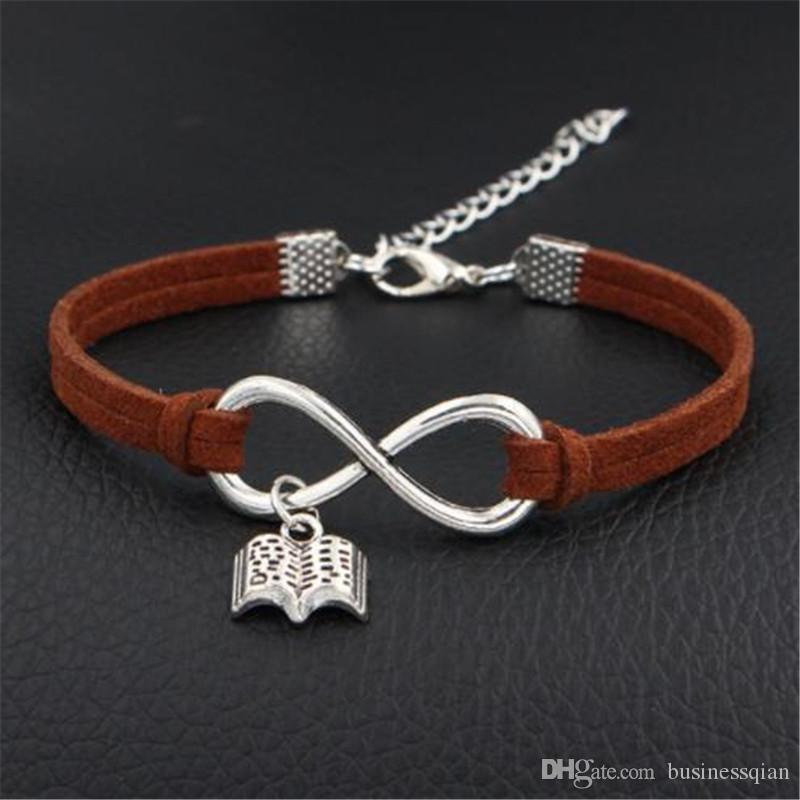 Fashion Dark Brown Leather Suede Bracelets & Bangles for Men Women Vintage Infinity Love Read Books Pendant Weave Handmade Braided Jewelry