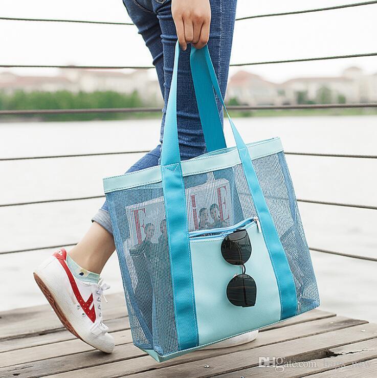 Sacs portables pour chaussures de plage Piscine de stockage Floral Mesh Tote Sacs à main Femmes Outdoor Maillot de bain Collect Paquet Sac de toilette