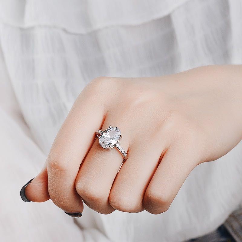 Oval CZ Big Vintage anel de casamento para Mulher geométrica cúbica Partido Festival Zirconia Clube pessoais mulheres na moda Acessórios