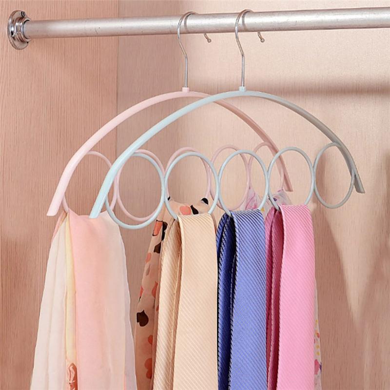 Shawl Scarf Hanger Belt Tie 5 Ring Rack Organizer Holder Hook Display Hanger 41*23cm Dropshipping Aug#1