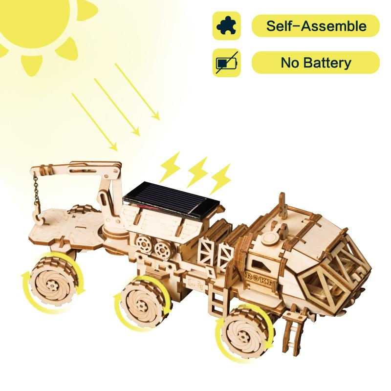 Robotime Creative DIY 3D Discovery Rover Moveable Solar Energy Powered Model Building Kits Toy Gift for Child Adult LS504 Y200413