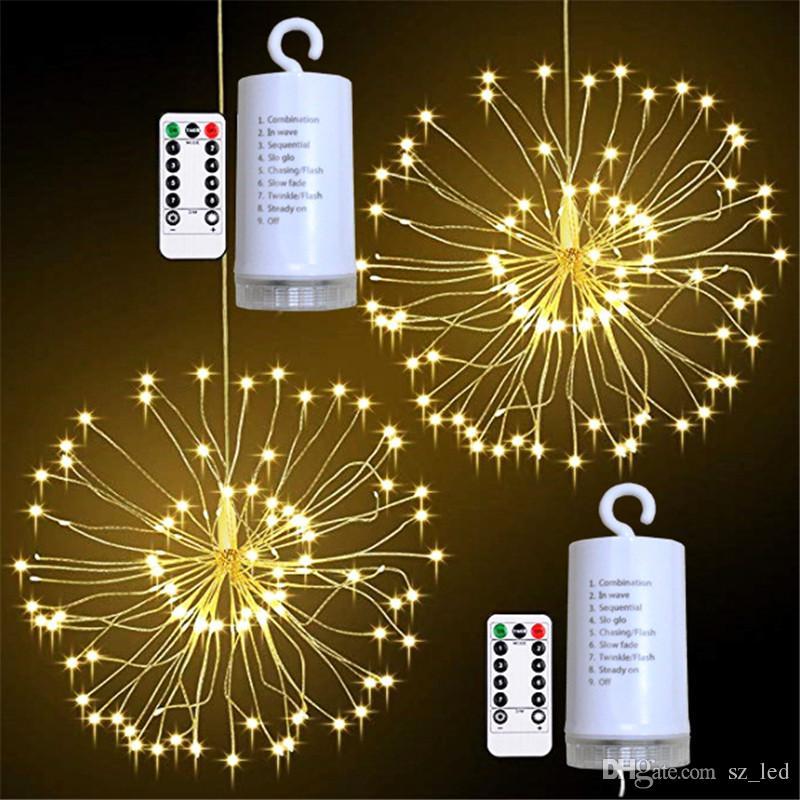 Pendurado Starburst LED String Light 100leds DIY Fogo de Artifício de Artifício Feira de Fada Garland Luzes de Natal Ao Ar Livre Luzes Twinkle