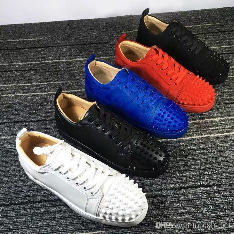 НОВАЯ 2019 Дизайнеры кроссовок Red Bottom обувных Low Cut замша Дорогой обуви для мужчин и женщин обуви партии свадебного кристалла кожаных кроссовок