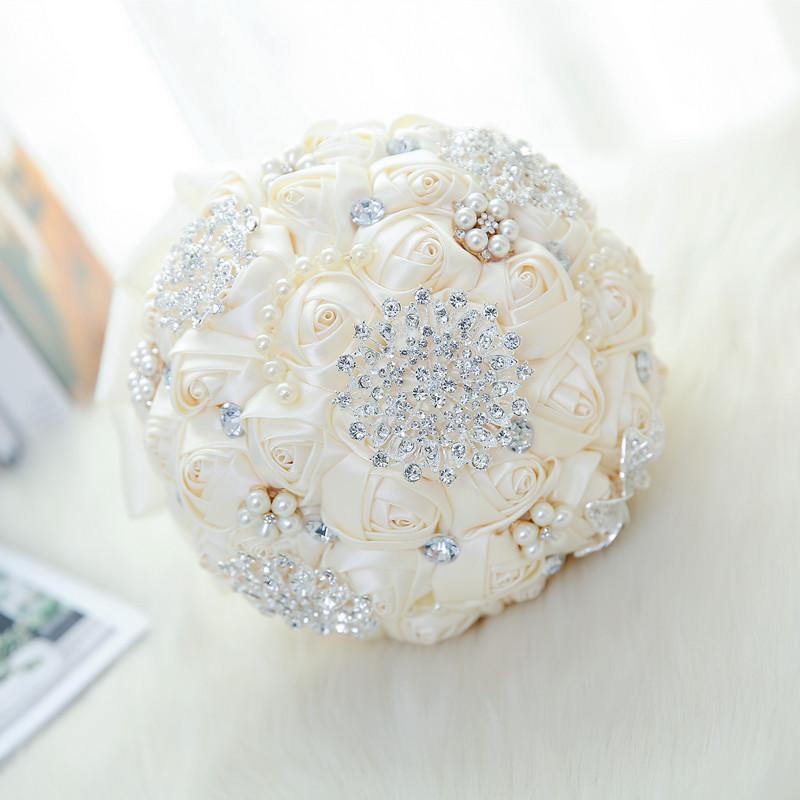 Lüks Gül Düğün Dekorasyon Çiçek Kristal Gelin Holding Çiçekler Dikiş Düğün Buketi Yapay Çiçek Nedime Gelin El Holding