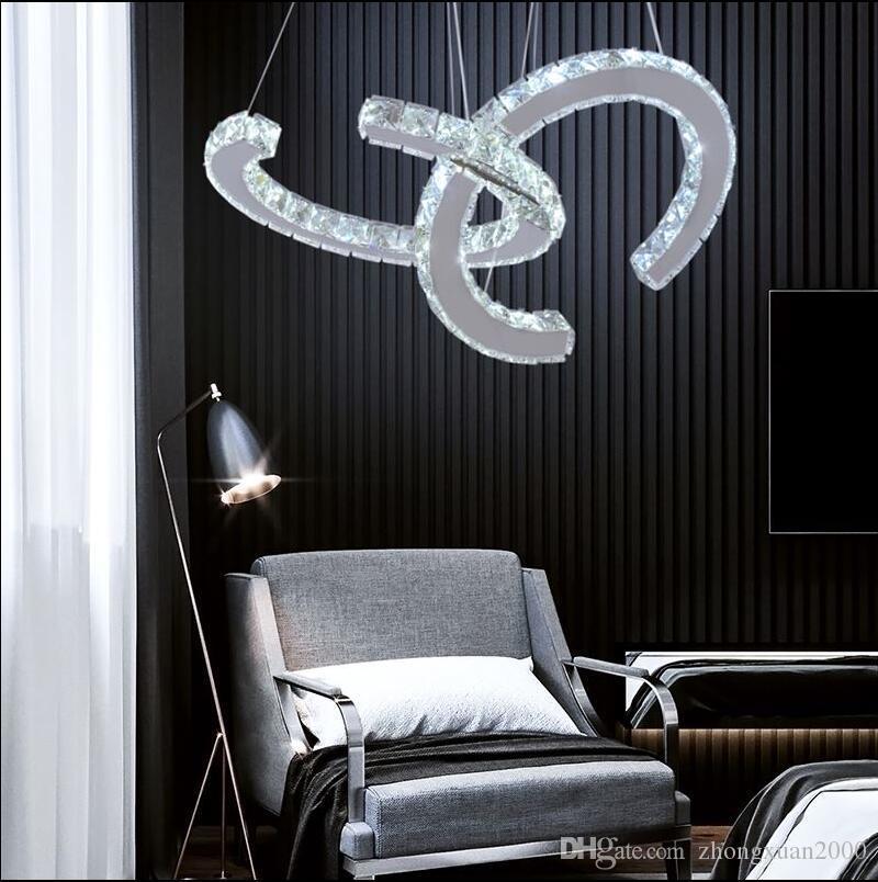 كريستال داخلي حديث الدائرة LED ثريات الإضاءة لغرفة المعيشة مصباح مطعم معلق مصابيح السقف إضاءة الأنوار اللمعان
