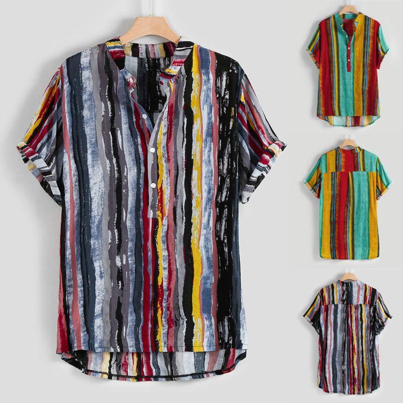 Мужские летние рубашки мода стенд воротник полосы печати гавайская рубашка с коротким рукавом рубашки топ M-3XL camisas elegantes para hombre