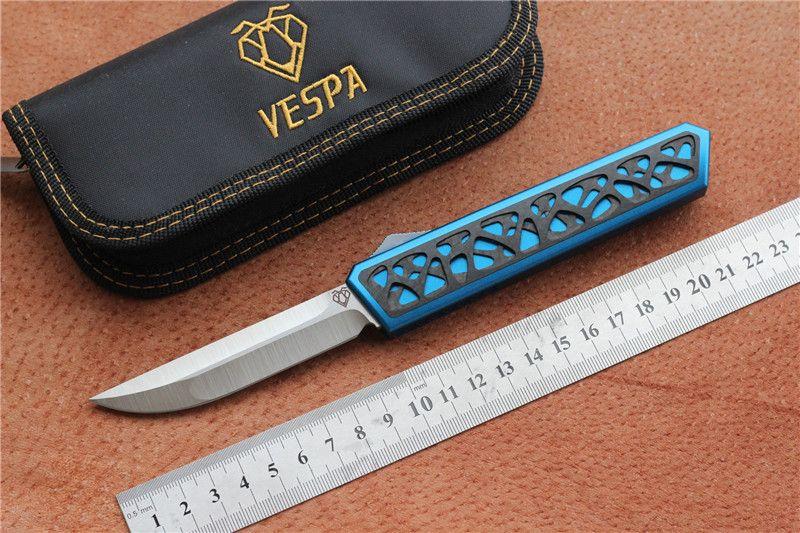 Hochwertige VESPA Dark Star Klappmesser Klinge: M390 (Satin) Griff: 7075Aluminium + CF, Outdoor Camping Überlebensmesser EDC-Werkzeuge