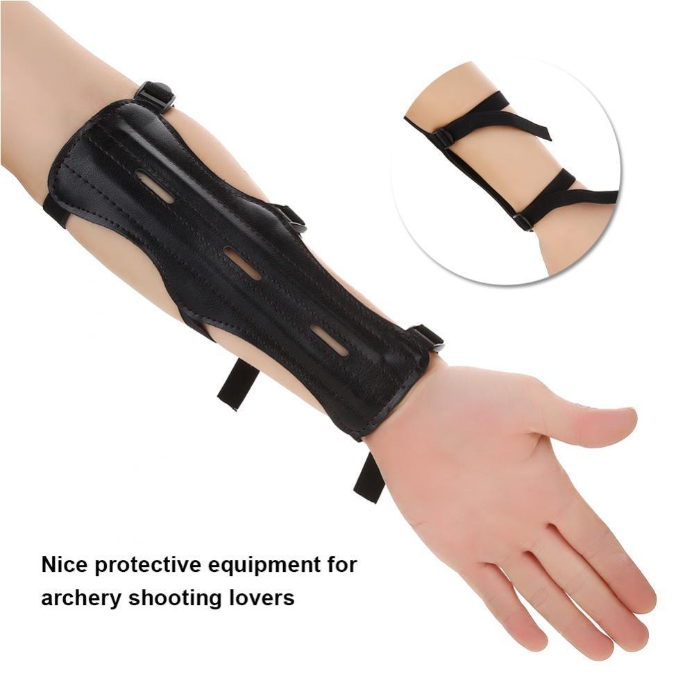 Practice Adjustable Archery Arm Guard Bow 4-Strap Protector Outdoor Shooting