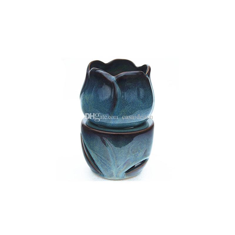Tulip forme d'huile chaud Bleu Réactif Glaze Essential Céramique brûleur à huile Bougie cadeau cire fond aromathérapie