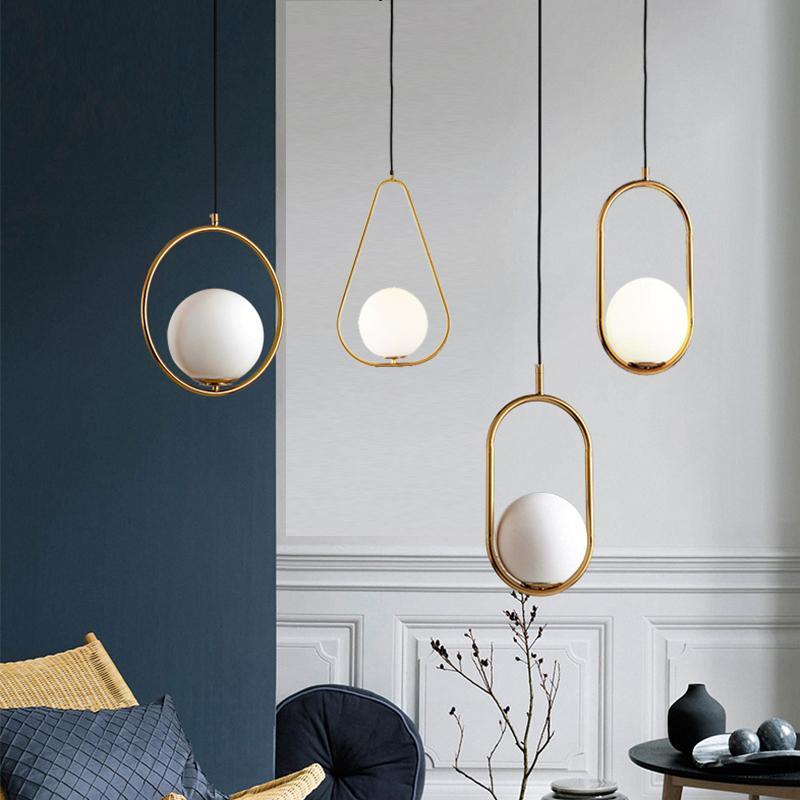 Moderne Pendelleuchten Nordic Minimalist Pendelleuchten Deckendekoration Glaskugel-Lampe für Wohnzimmer Schlafzimmer Esszimmer