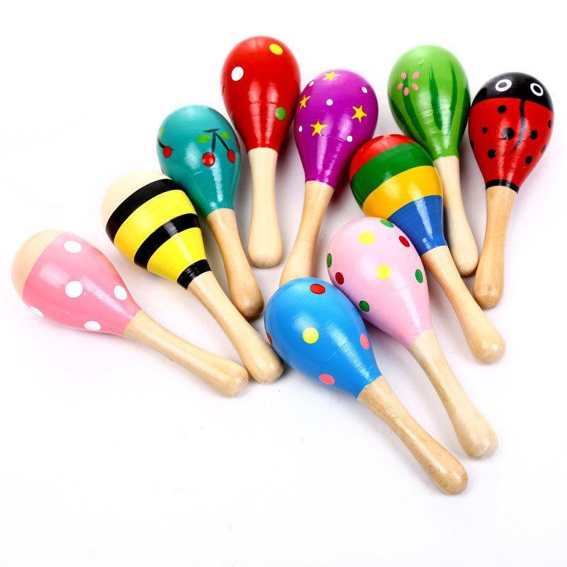 Crianças brinquedos de madeira maracas criança bebê instrumento musical chocalho maracas cabasa martelo areia instrumento orff brinquedo gga2617