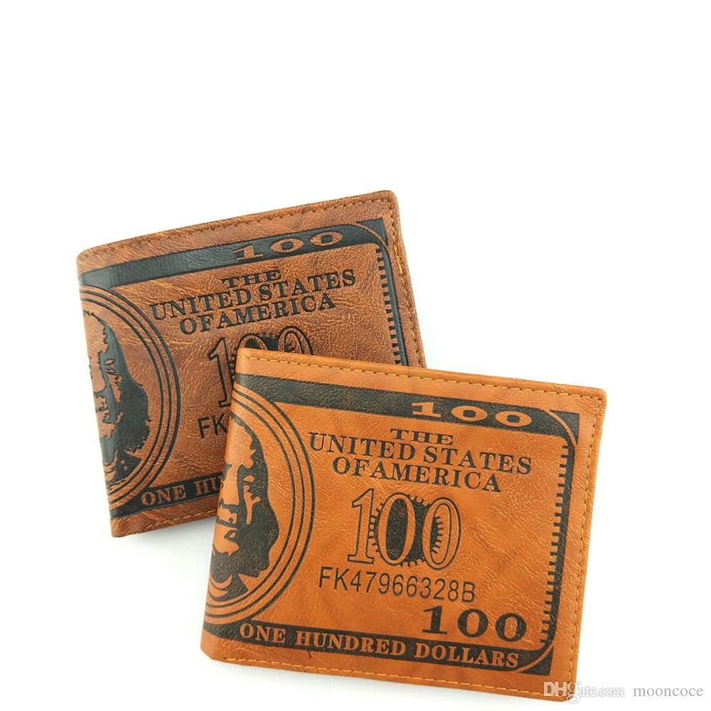 Heißer verkauf us dollar bill brieftasche männer frauen braun pu leder brieftasche kreditkarteninhaber bifold geldbörse unisex leder geldbörse