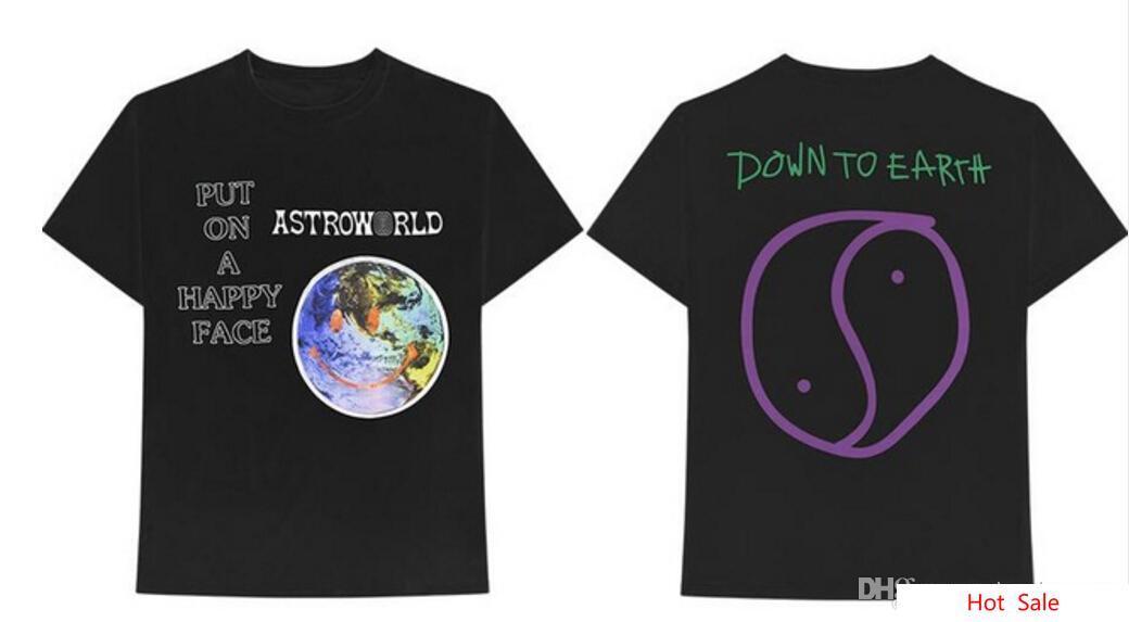 Astroworld Álbum Terra Padrão Carta Imprimir Homens Mulheres T-shirt Rapper Travis Scott Moda Tees Tops de Verão de Manga Curta Tshirt clothing