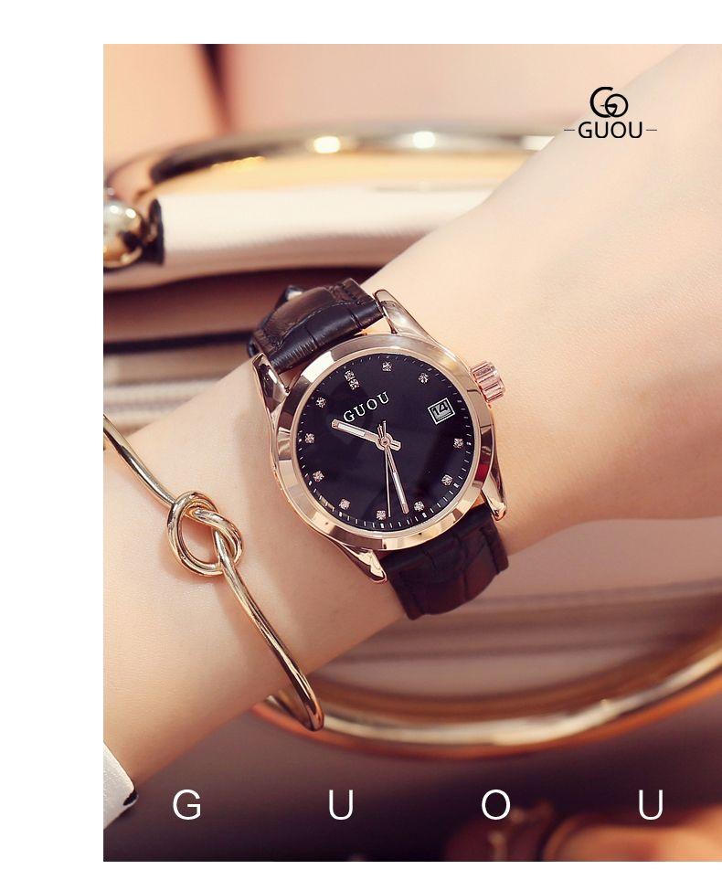 2020 Hot Sale Black Watch Ladies Fashion Simple Quartz Watch Student Waterproof Luminous Pointer Casual Belt Watch trend Gift 8076