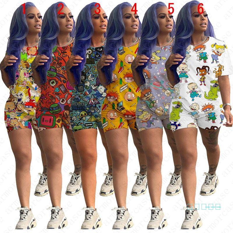 Женщины дизайнер костюмов летних шорты Эпикировка мультфильм печать футболка Топов + шорты Брюки 2pcs Набор плюс размер Спортивного костюма Главных Пижамы D5703