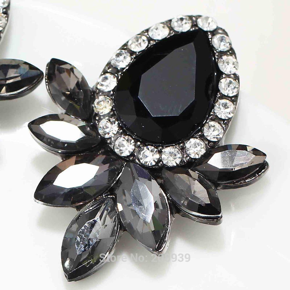 Women's Fashion Earrings Rhinestone Gray/Pink Glass Black Resin Sweet Metal with Stud Earrings For Women Girls
