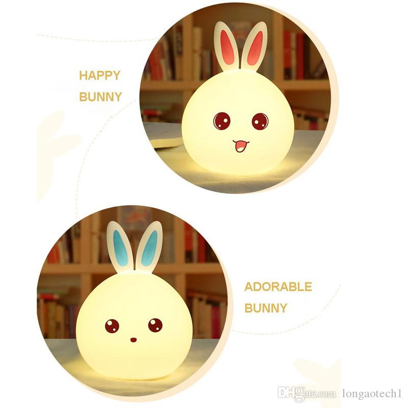 Indoor Color Changing Small Silicone Rabbit Children's Night Lamp Promotion LED Remote Control Color Silicone Night Light Rabbit Lamp