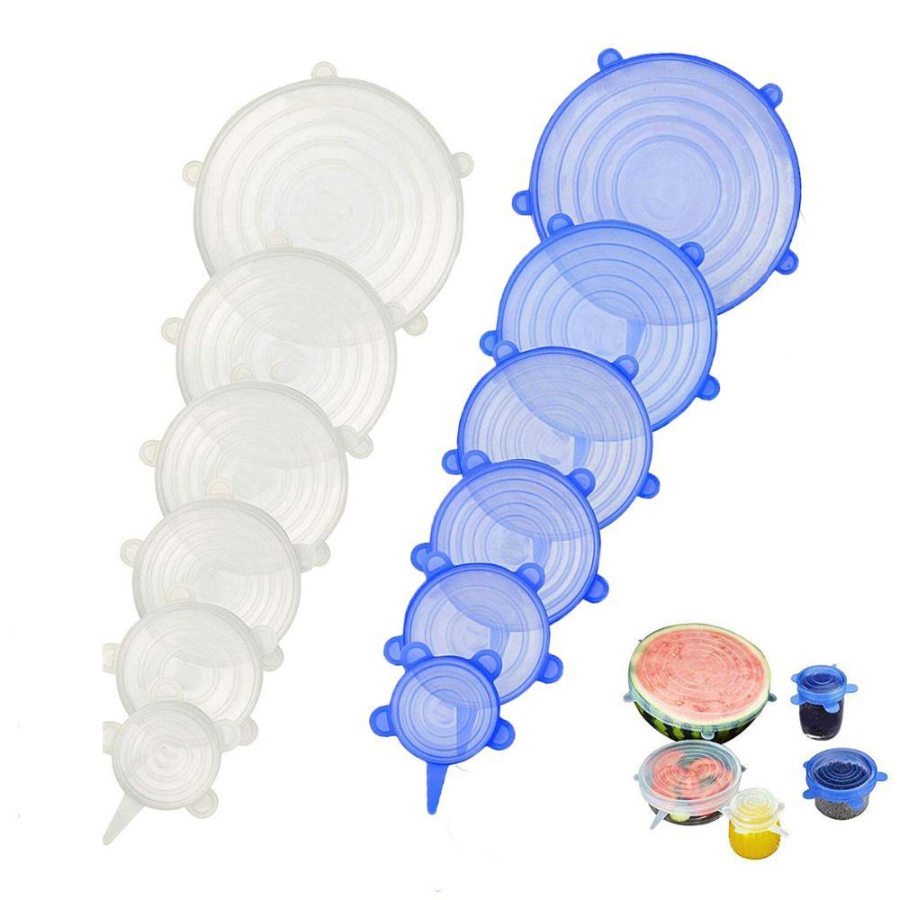 Universal-Silikon-Stretch Lebensmittel Lids zu halten Lebensmittel frisch wiederverwendbare Lid-Bowl Lagerung 6pcs / Set Stretch Lids Küchenzubehör