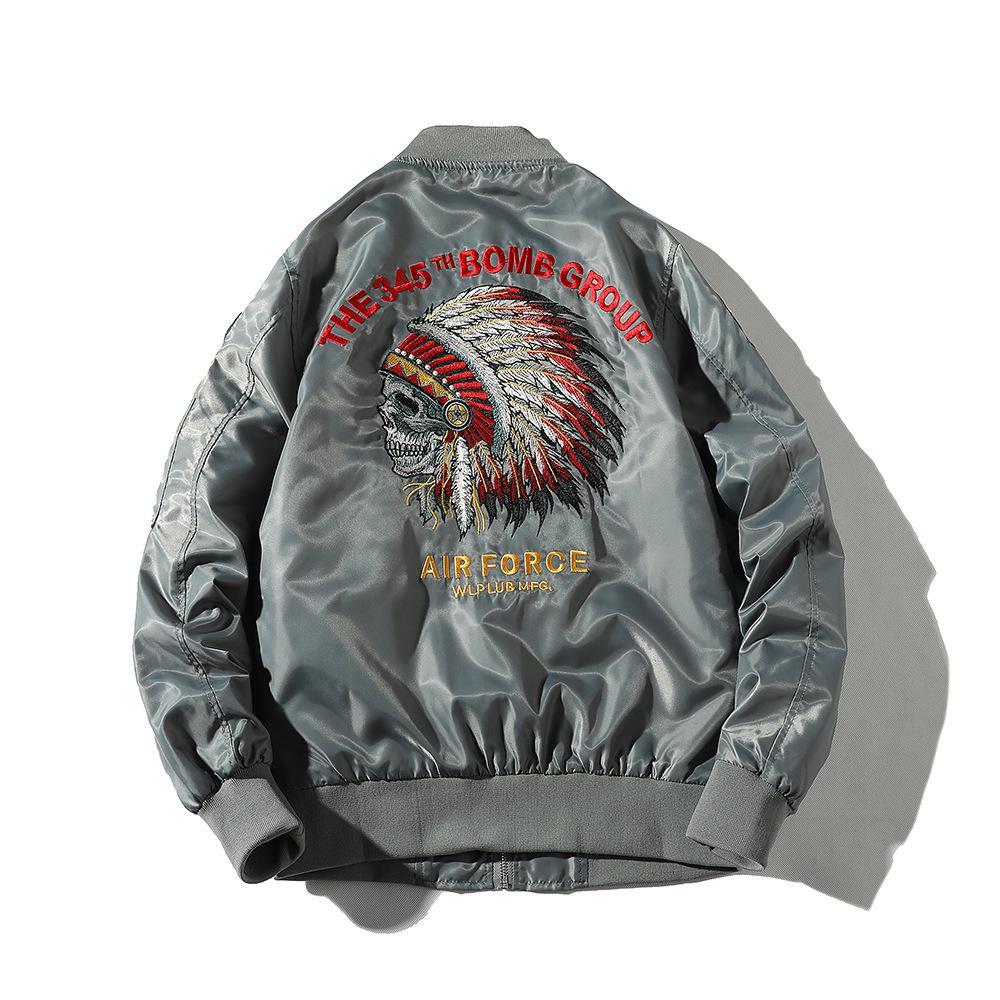 Primavera statunitense per il tempo libero ma1 giacca di volo maschile teschio capo ricamato giacca da baseball uniforme da baseball bomber giacche tuta sportiva uomo hip hop
