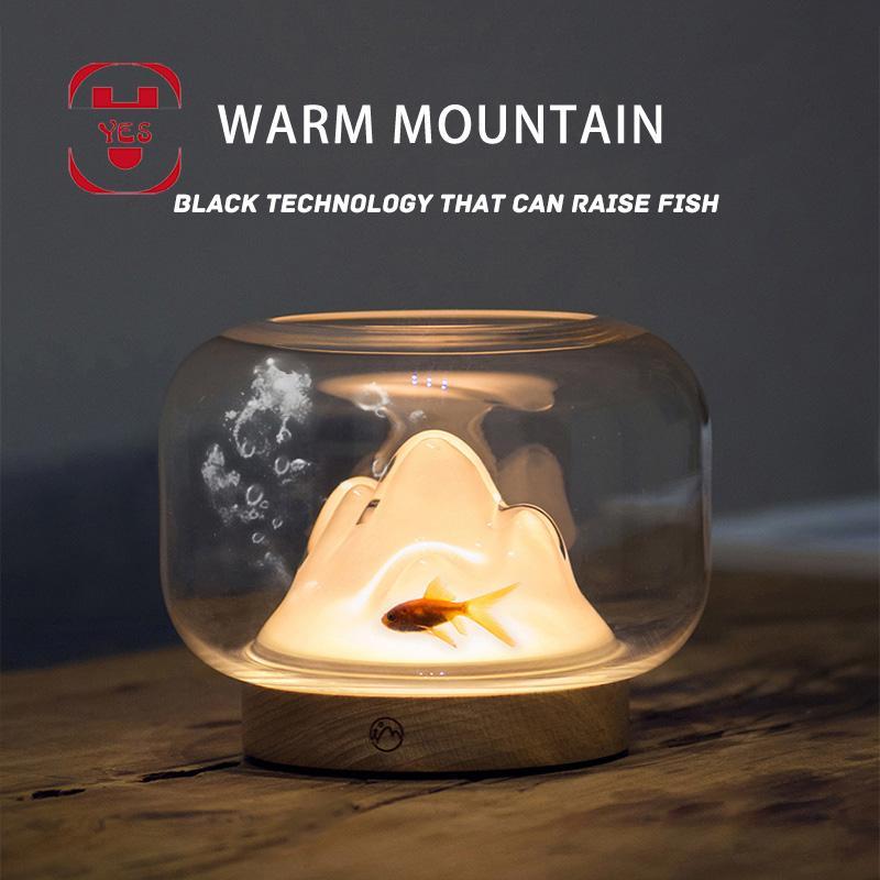 따뜻한 산 밤 빛 머리 맡 데스크탑 테이블 램프 블랙 기술 빛나는 물고기 탱크 꽃 장식 보석 독특한 선물