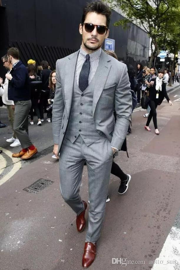 패션 밝은 회색 신랑 턱시도 노치 라펠 슬림핏 남성 웨딩 턱시도 뛰어난 자켓 재킷 3 피스 정장 (재킷 + 바지 + 조끼 + 타이) (60)