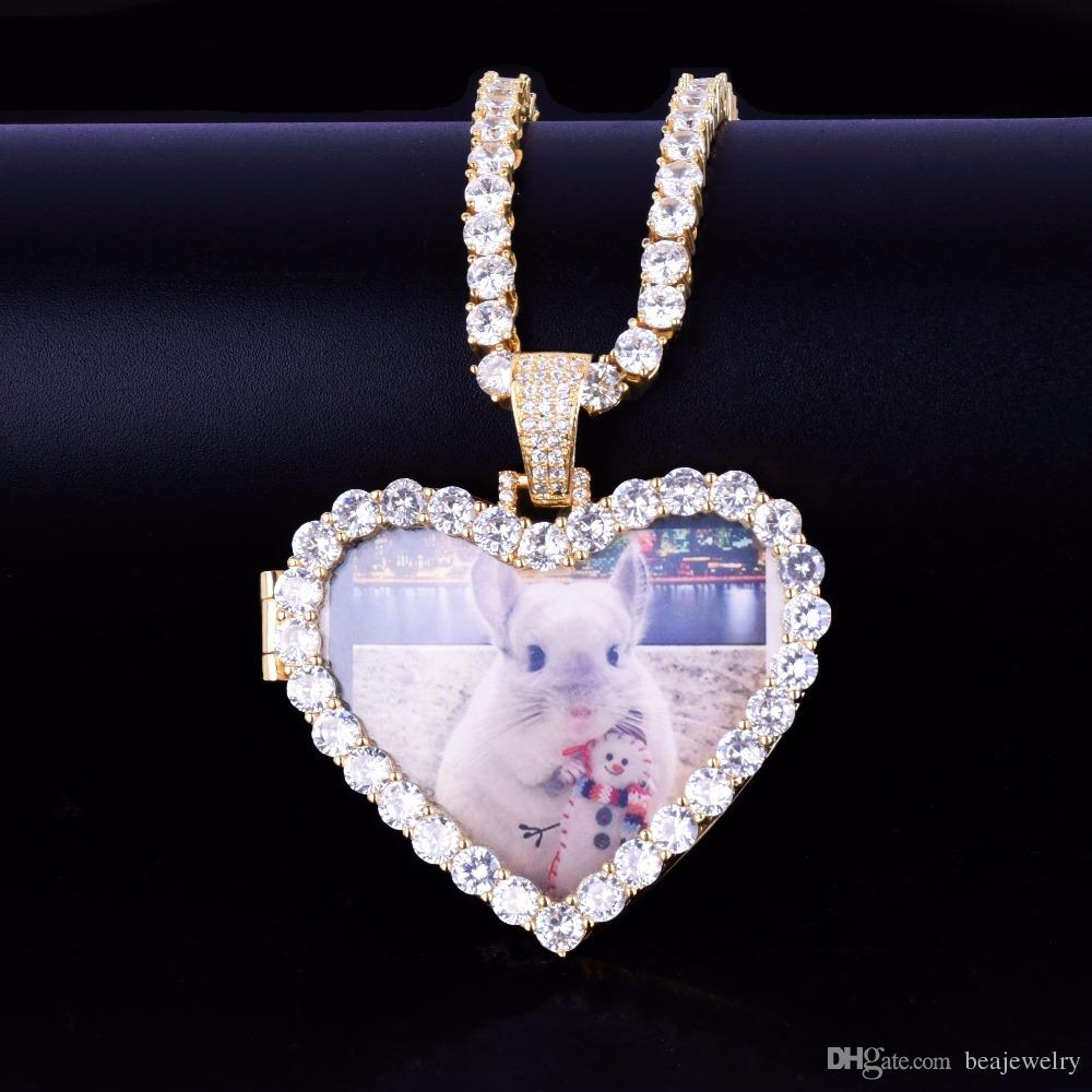 Custom Made Photo Heart Medallions Pendant Necklace With 4mm Tennis Chain Gold Color Zircon Men Hip hop Jewelry 5x4.8cm
