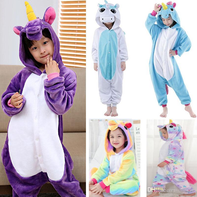 어린이 유니콘 바디 수트 잠옷 소년 소녀 동물 플란넬 코스프레 의상 잠옷 의류이지웨어 (36 개) 스타일 XD21680