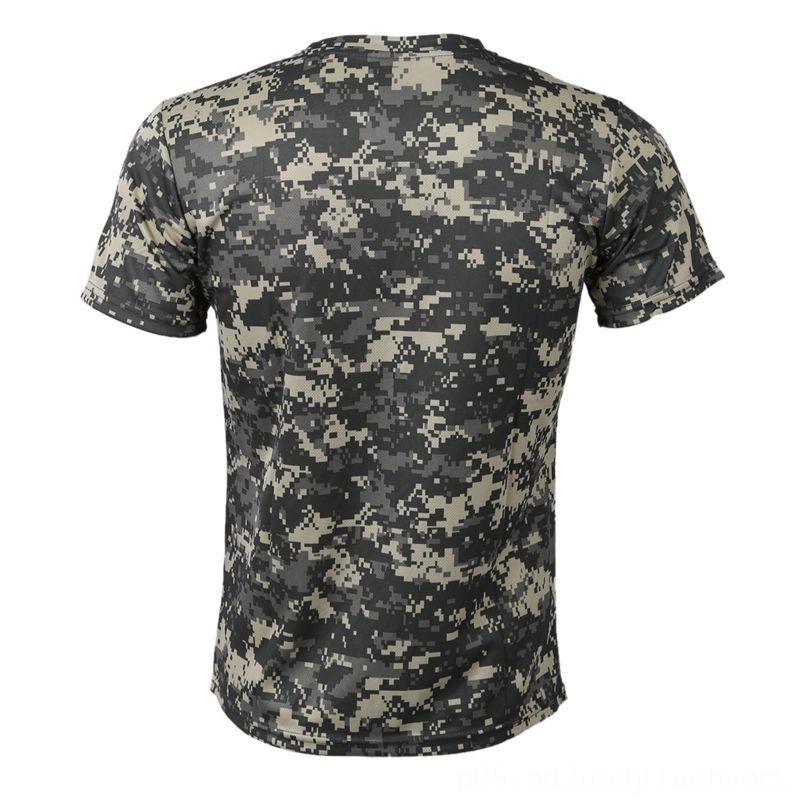 Novo caça camuflagem exterior desgaste atlético Outdoor Vestuário T-shirt Men respirável combate camiseta Dry Esporte Camo acampamento TeesACU Verde S