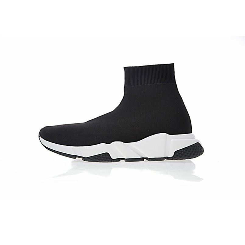 Sapatos de esportes de meias de luxo velocidade treinador preto Malha, triplo preto liso moda meias Botas, com caixa