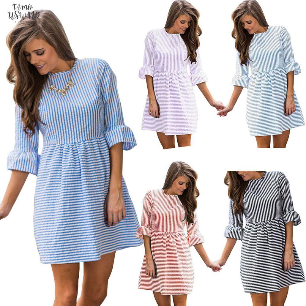 Vestido de verano Ronda vestidos Femininos de las señoras de moda de rayas cuello de la cremallera de la llamarada de la manga ocasional del mini vestido de la raya de las mujeres