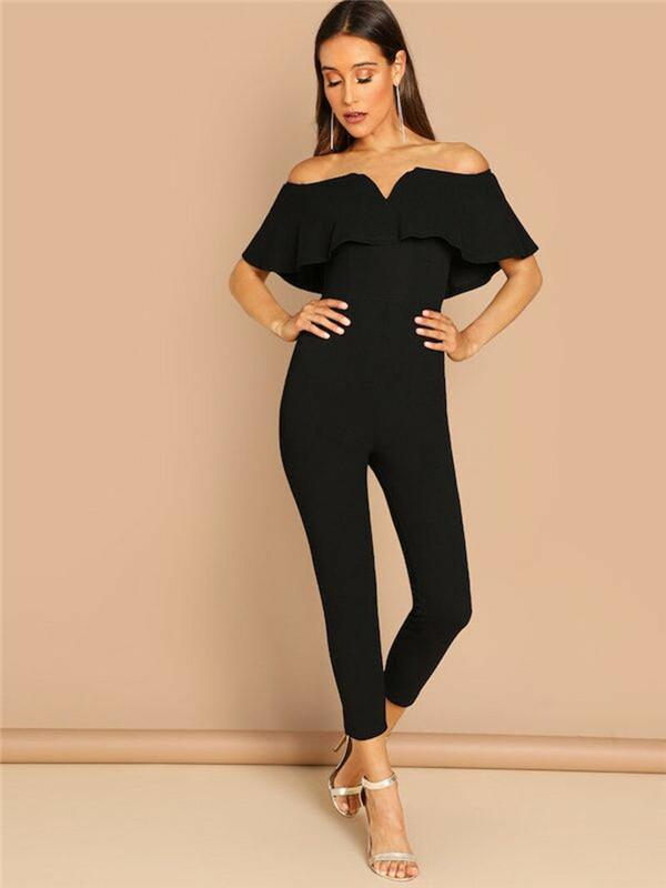 Plus Size Women's Elegant Jumpsuit Ruffles Short Sleeve Long Rompers Vintage Slim Off Shoulder Evening Party One Piece Clothing