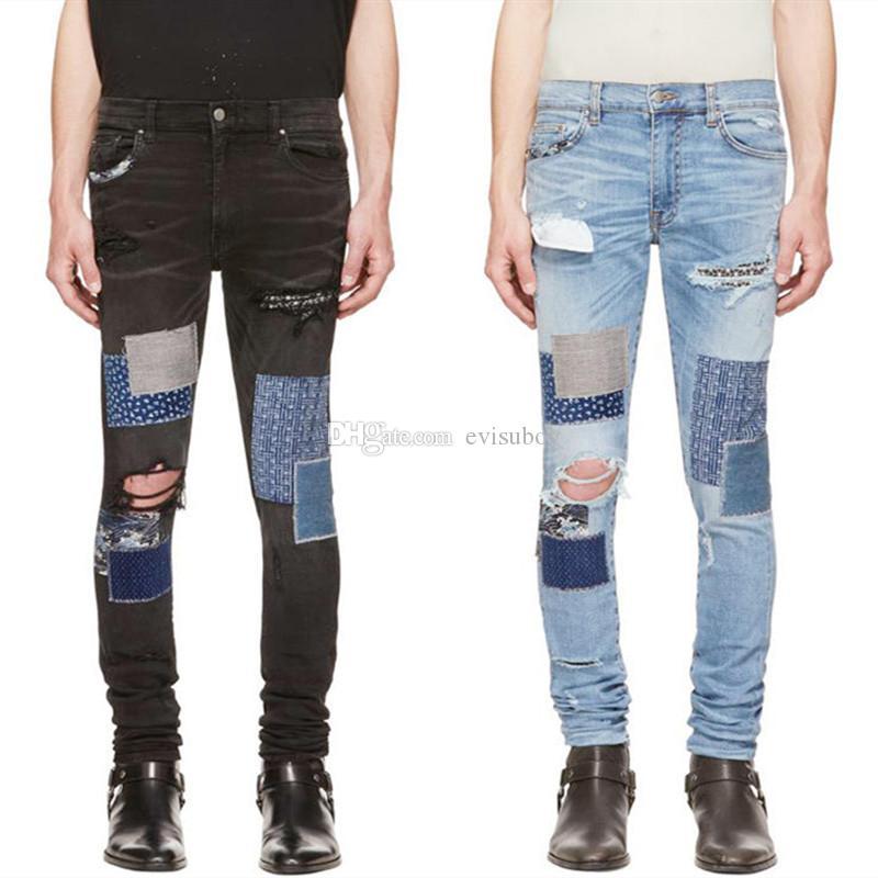 ممزق رجالي جديد المصمم جينز الرجال جينز الرجال النساء المتعثرة سحاب سروال جينز رجالي المصمم سروال حجم 29-42