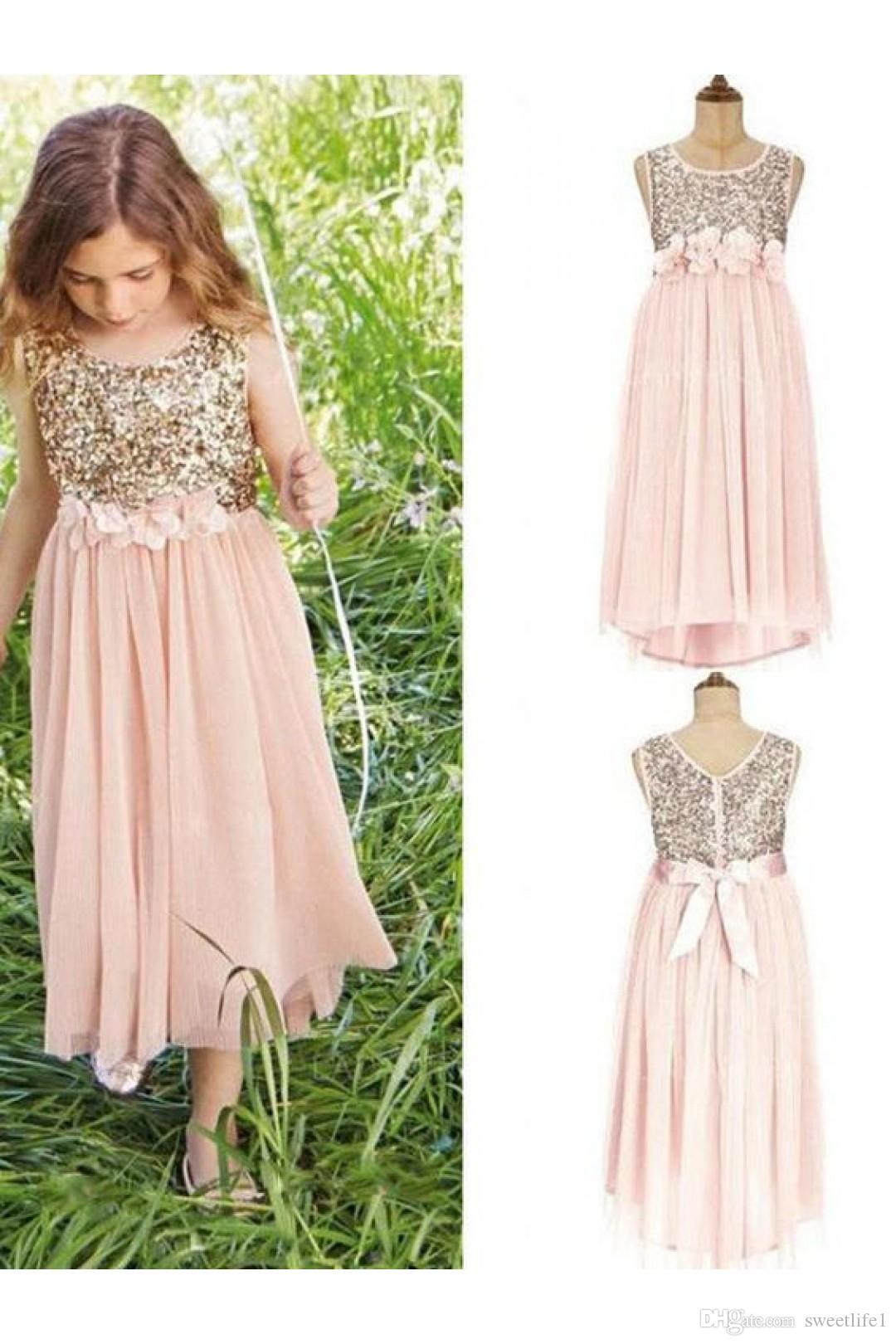 Scoop Neck Sequin Flower Girls Dresses 2020 Top Floral belt with bowknot Junior Bridesmaid Dress with Chiffon Skirt First Communion Dresses