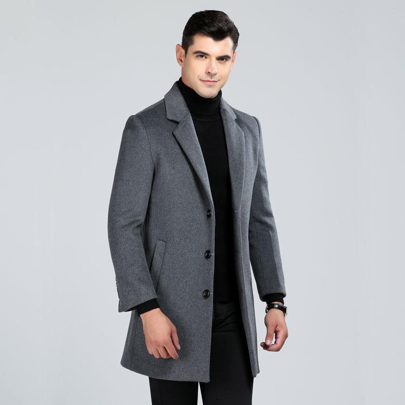 2018 M-3XL de gran tamaño de la capa de lana de hombres estilo largo de lana negocio gabardinas macho gira el collar abajo solo sobretodo delgado breasted