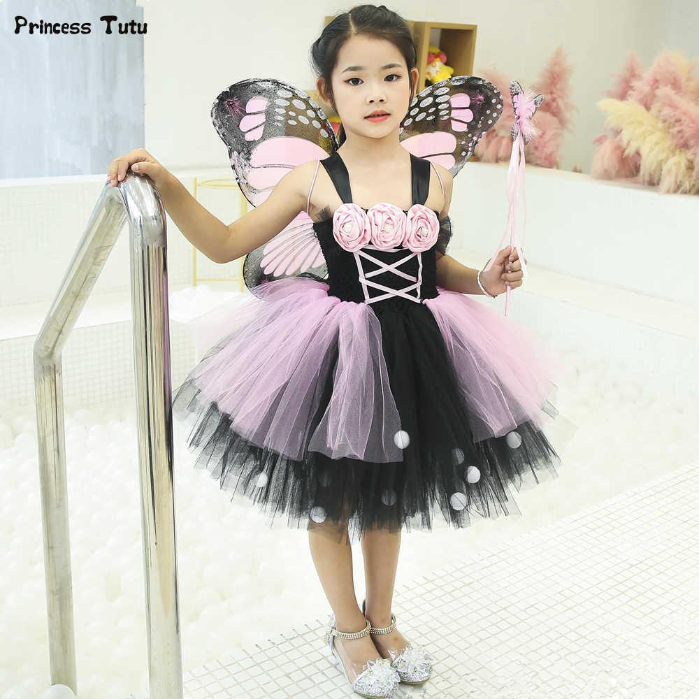 Pink & Black Monarch Butterfly Tutu Dress Princess Kids Party Dresses For Girls Tulle Flower Dress Halloween Fairy Costume 1-14y J190505